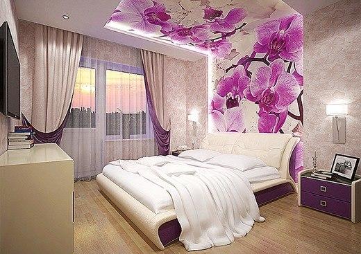 Дизайн фотообоев для спальни в интерьере фото 69