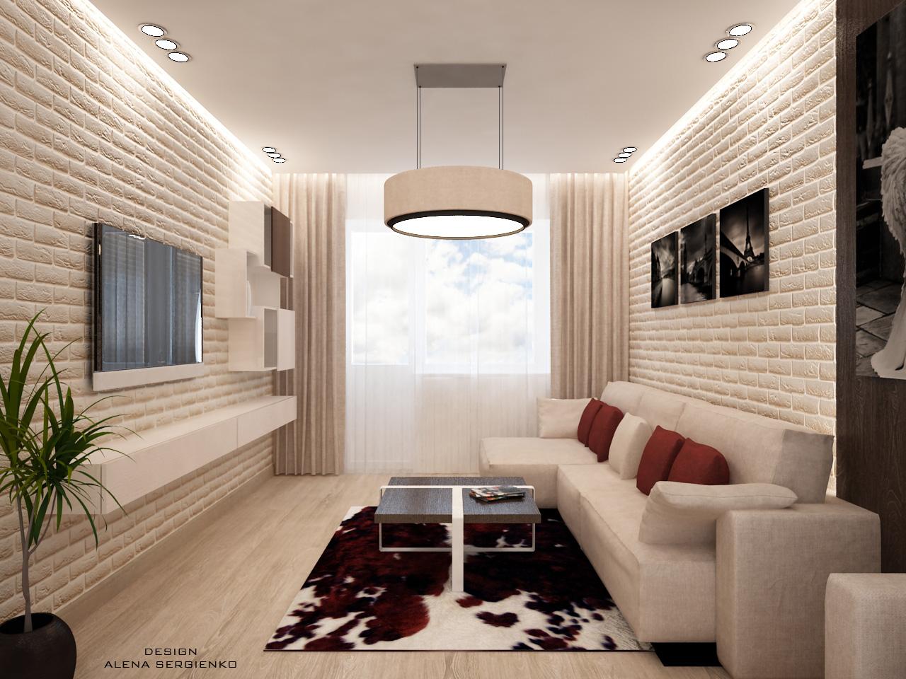 Дизайн интерьера узкой гостиной фото