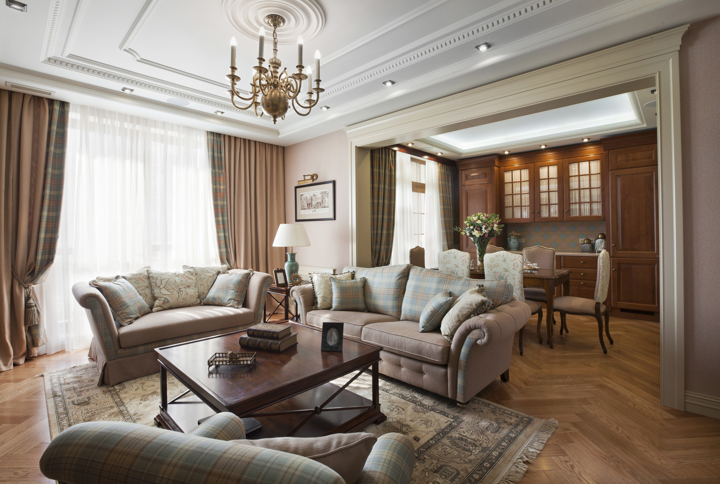 Дизайн интерьера гостиной в классическом современном стиле