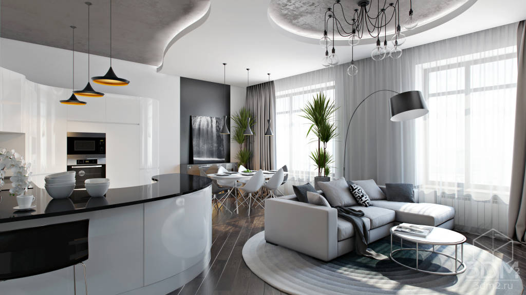 Дизайн интерьера квартиры студии в стиле хай тек