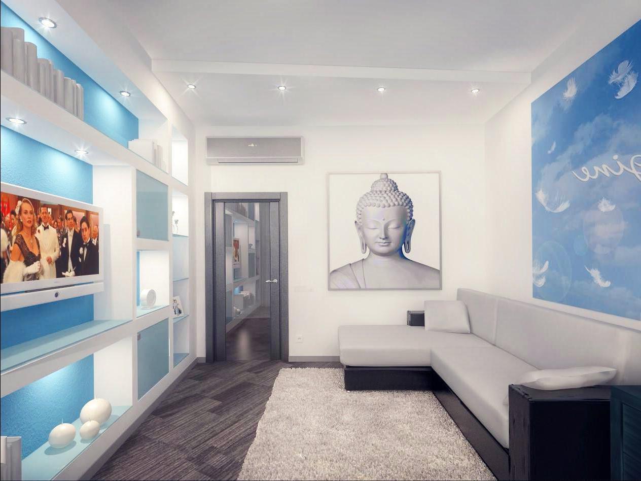 Интерьер прямоугольной гостиной с двумя окнами