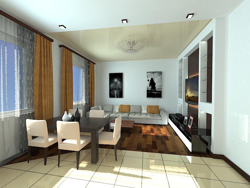 Квадратная гостиная кухня дизайн