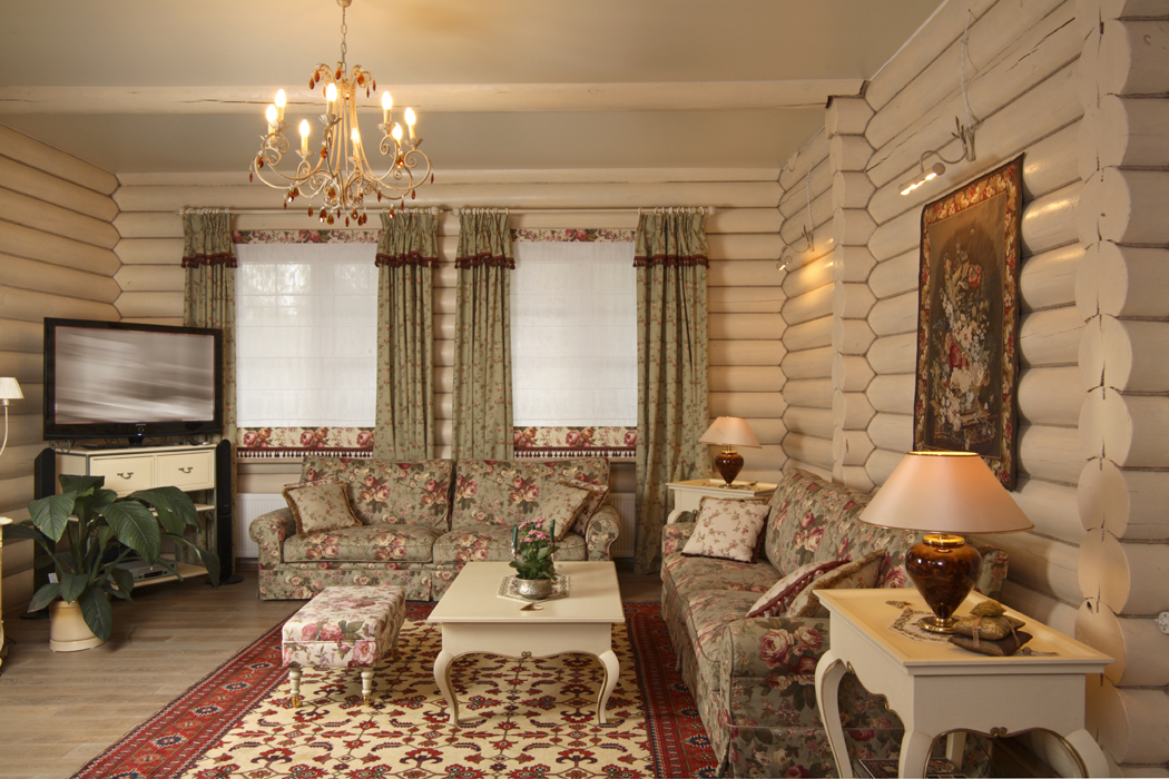 Интерьер в стиле кантри в деревянном доме фото