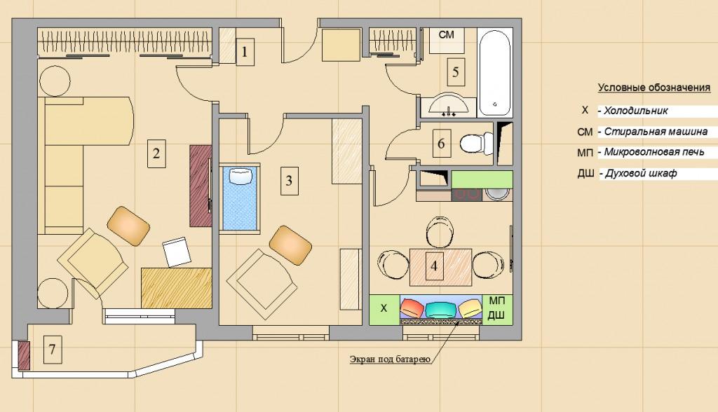 Мебель в квартире схема