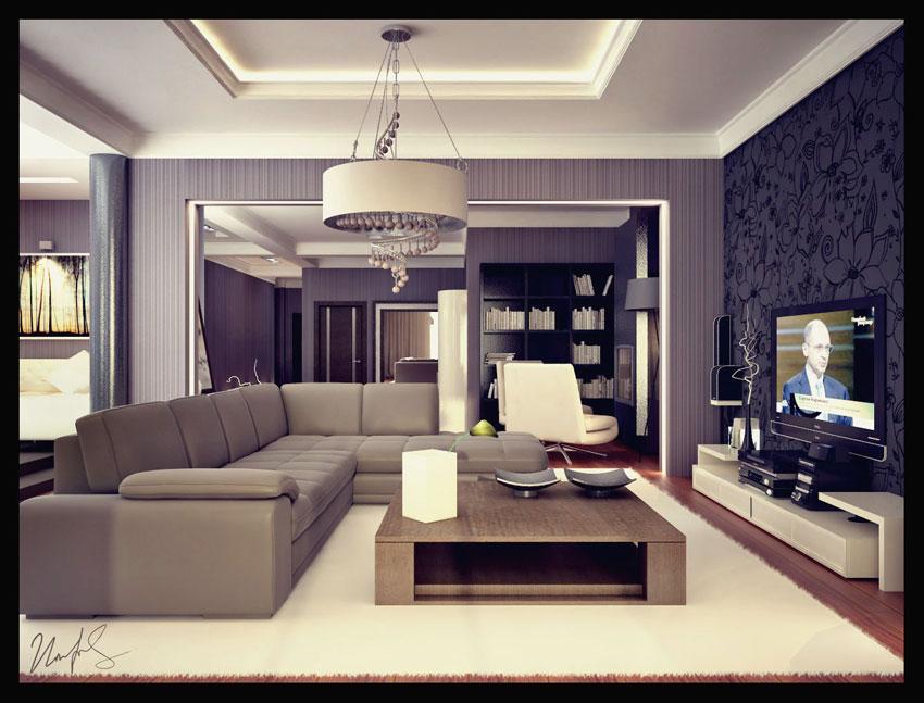 Модерн стиль в интерьере гостиной фото