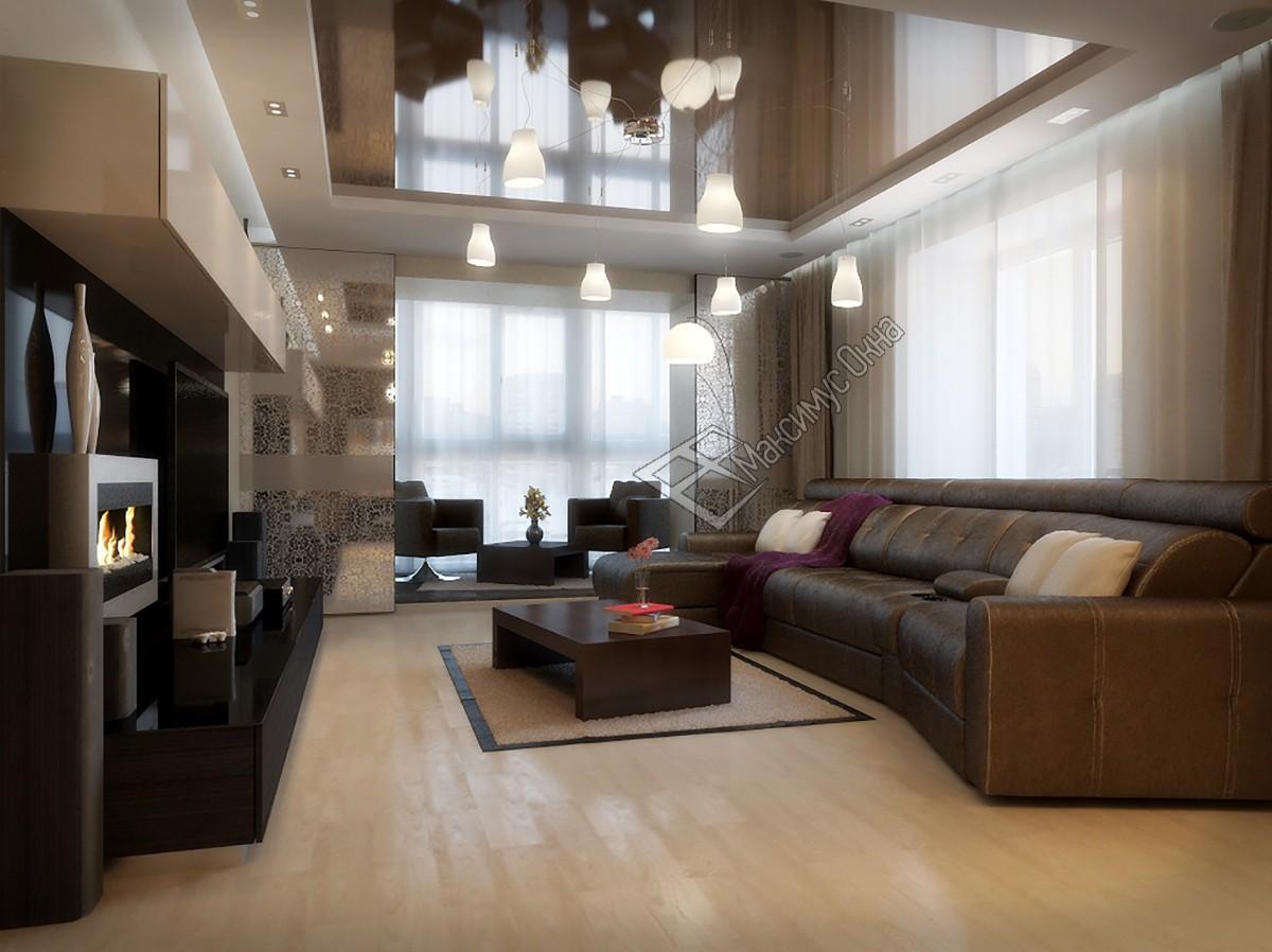 Дизайн зала совмещенного с балконом