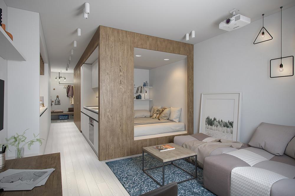 Маленькая квартира студия 30 кв м дизайн