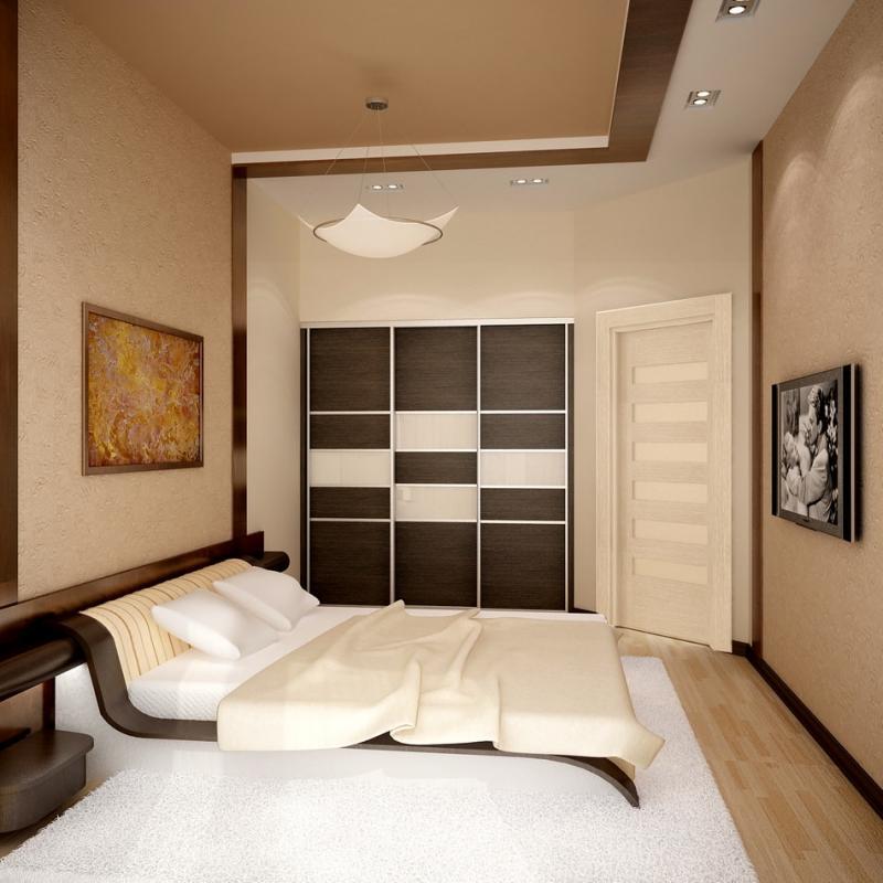Узкая длинная спальня в хрущевке дизайн 5