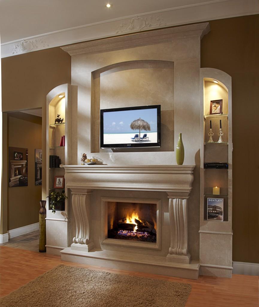Фото камин и телевизор в интерьере гостиной