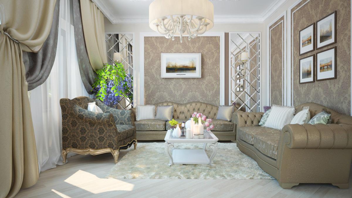 Дизайн гостиной в стиле современная классика дизайн