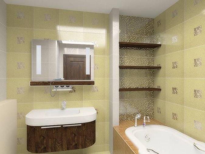 Полочки в ванной из плитки дизайн