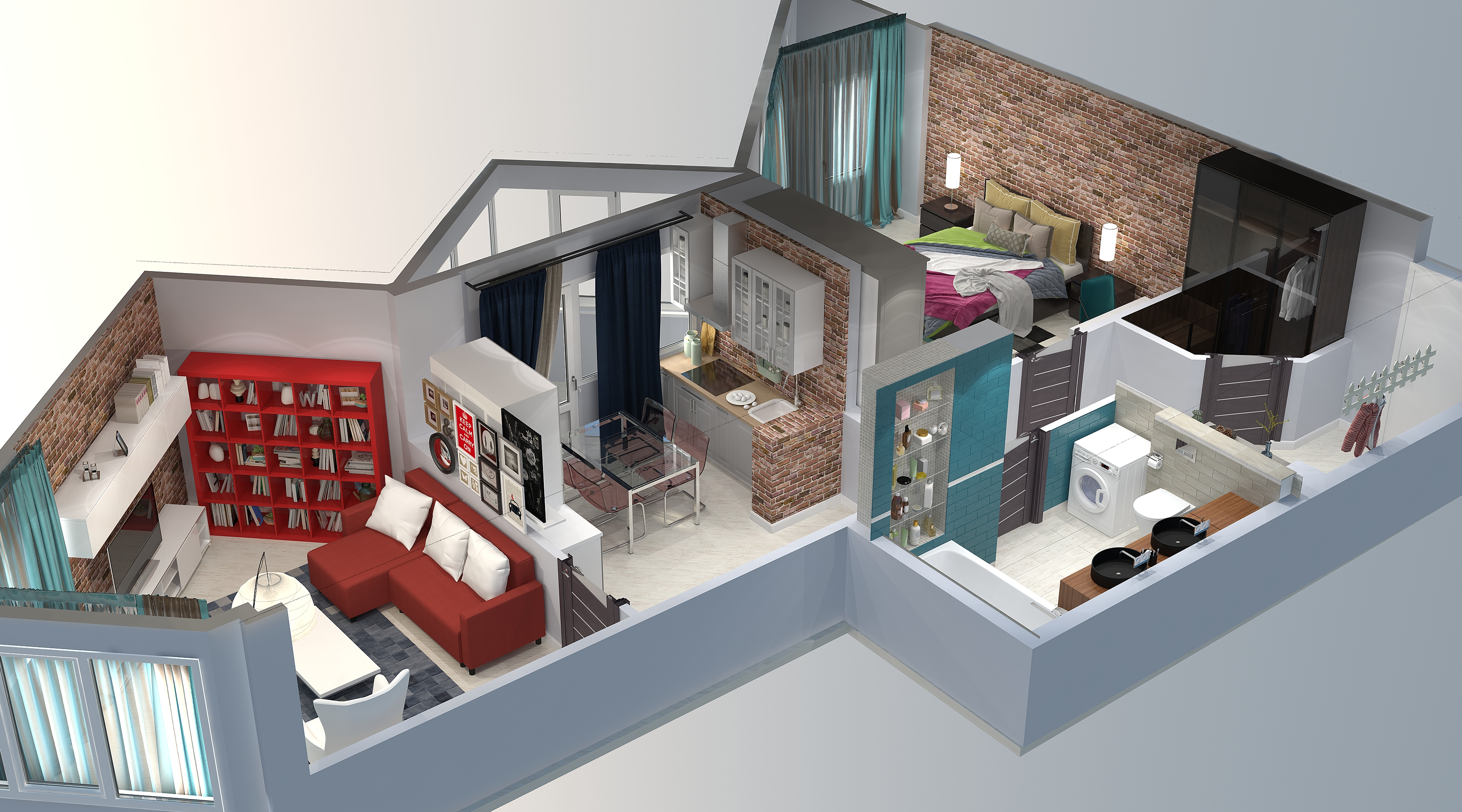Дом с планом и интерьером.