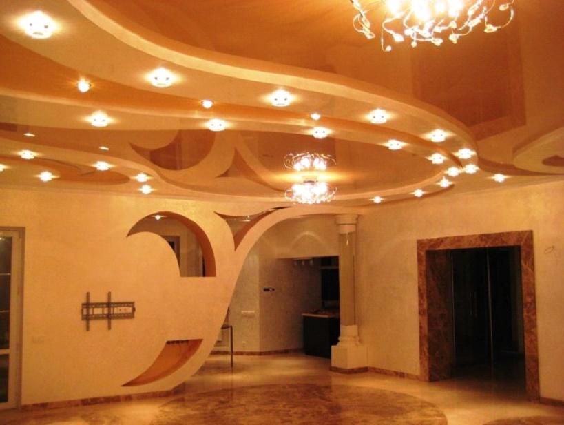 Потолки из гипсокартона для зала своими руками фото