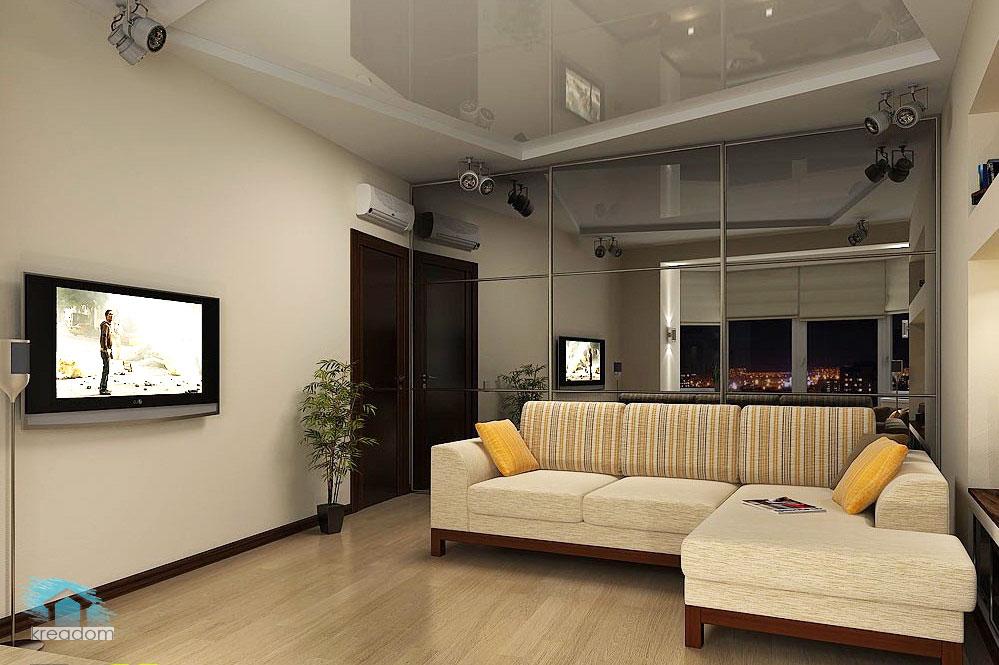 Дизайн квадратной гостиной 14 квм