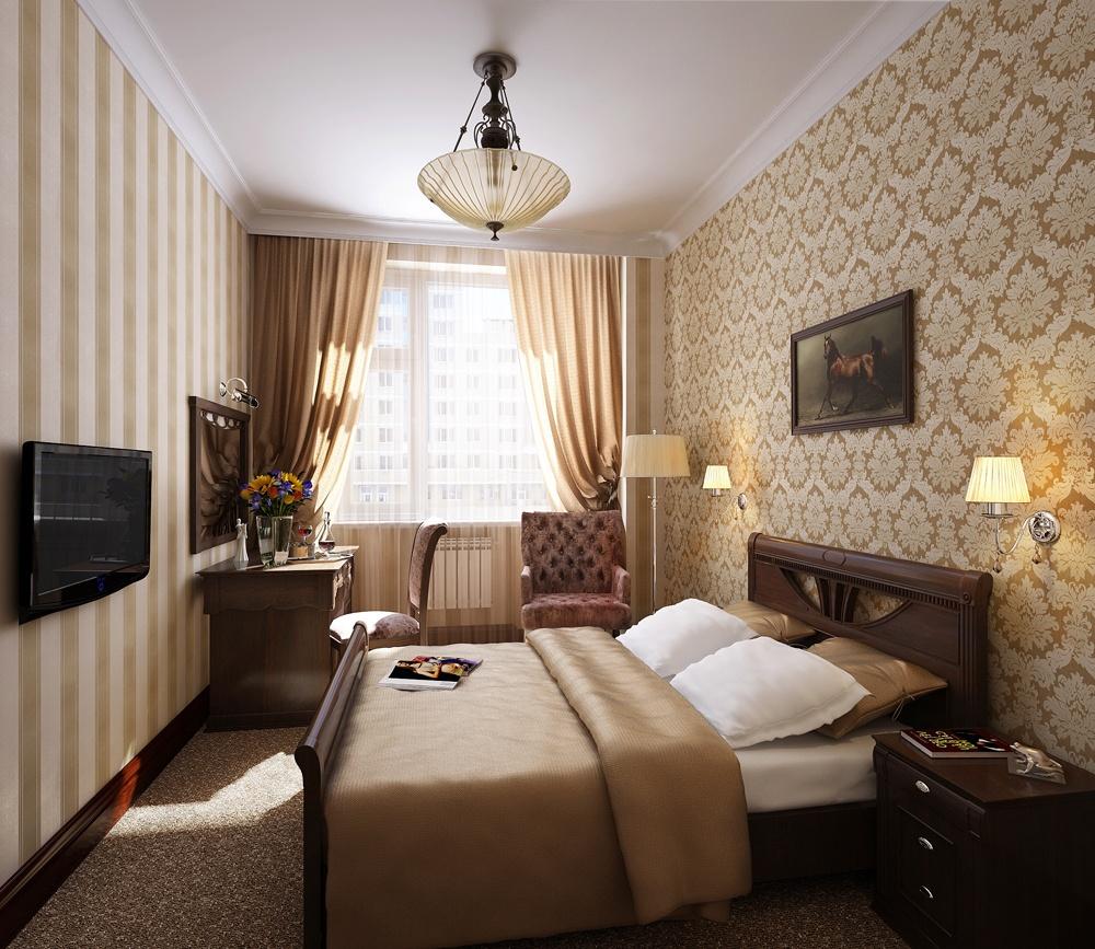 Интерьер узкой спальни с одним окном фото