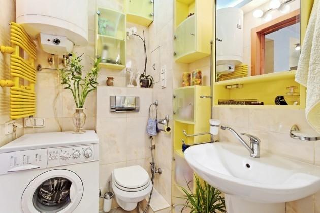 Интерьер ванной комнаты с туалетом и стиральной машиной 3 кв.м фото