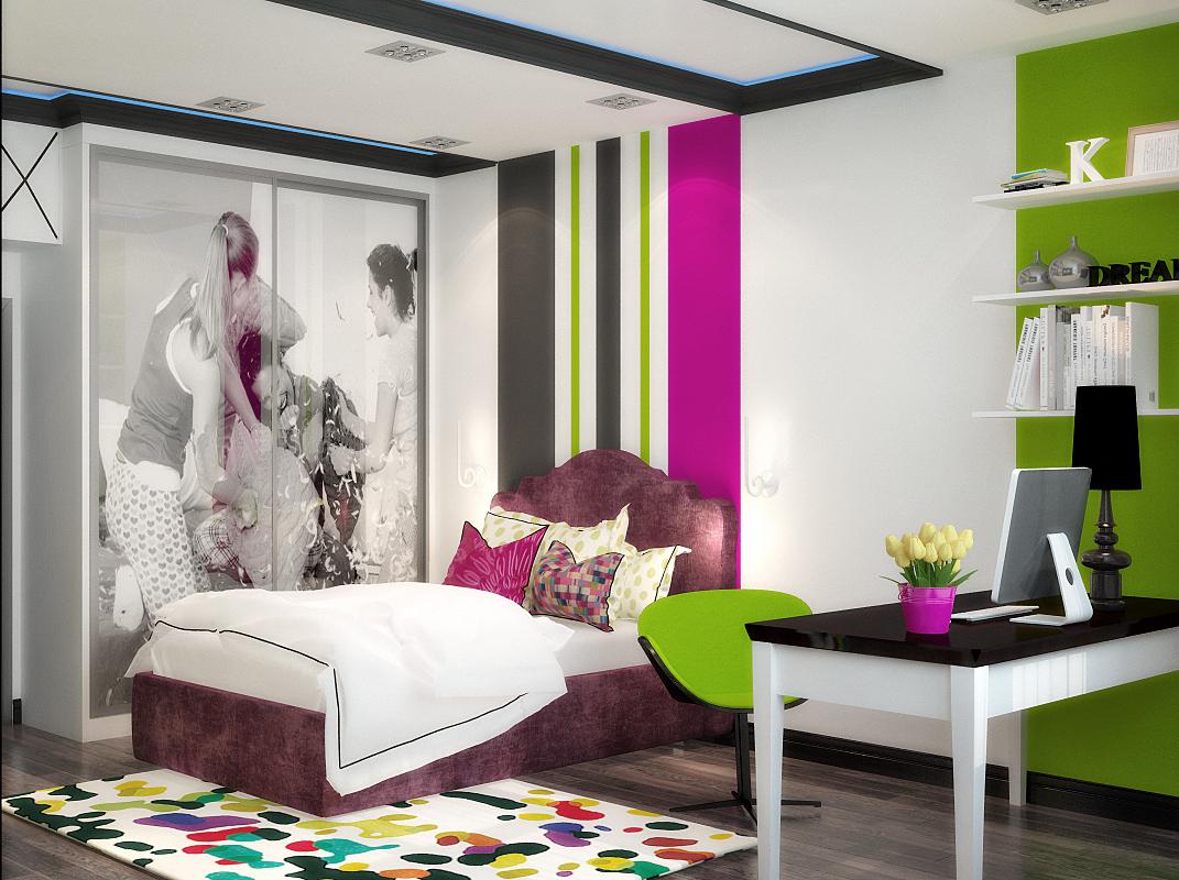 Дизайн стильной комнаты для девочки