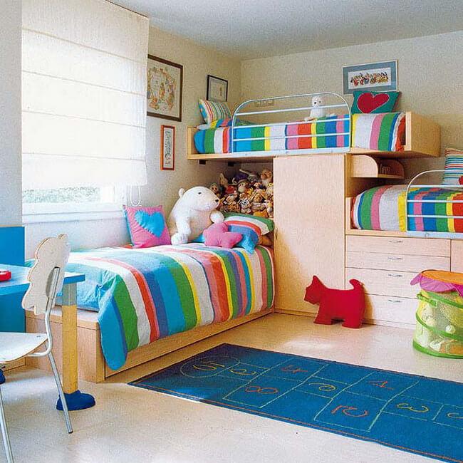 Дизайн детской для трех разнополых детей