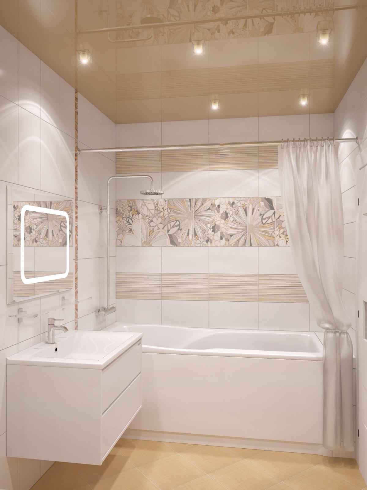 Интерьер ванной в светлых тонах фото