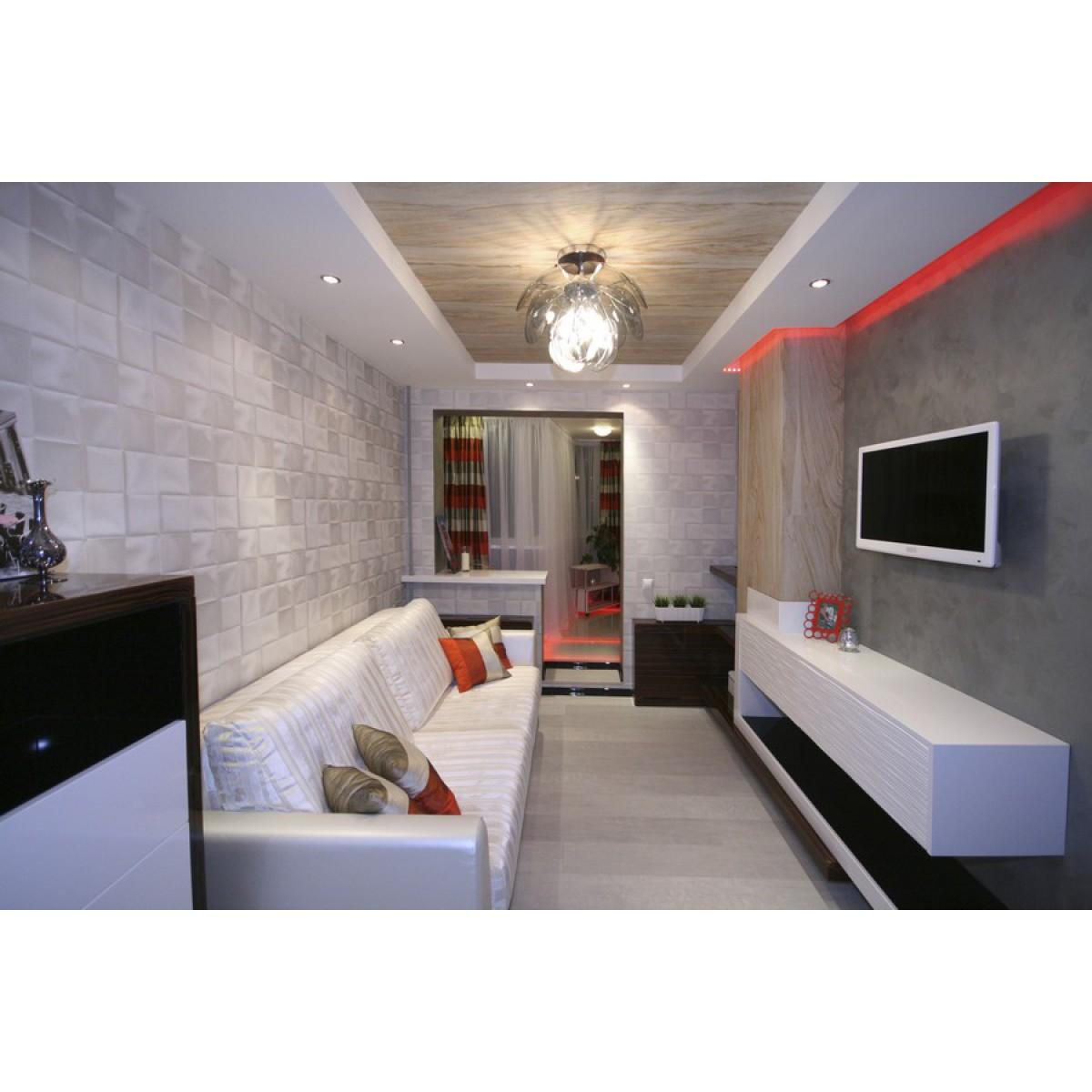 """Интерьер гостиной если комната узкая улица """" улетный дизайн."""