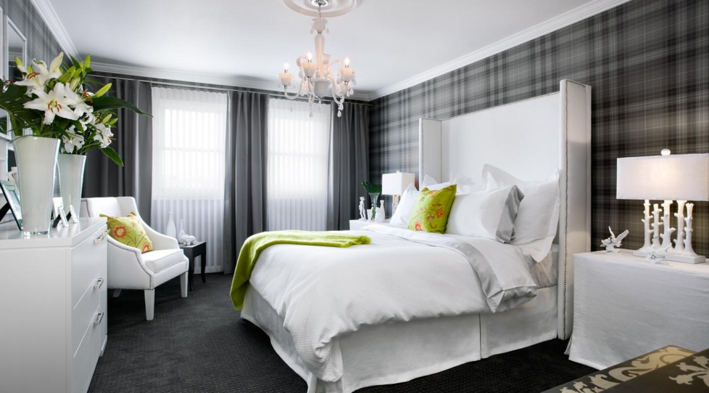 Спальня в сером и белом цвете дизайн