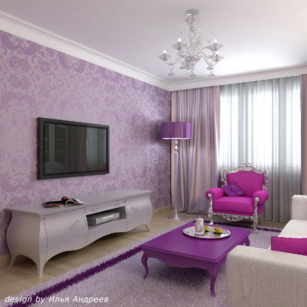 Фиолетовые обои в интерьере фото