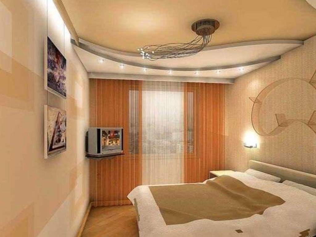 Дизайн потолков маленьких спален