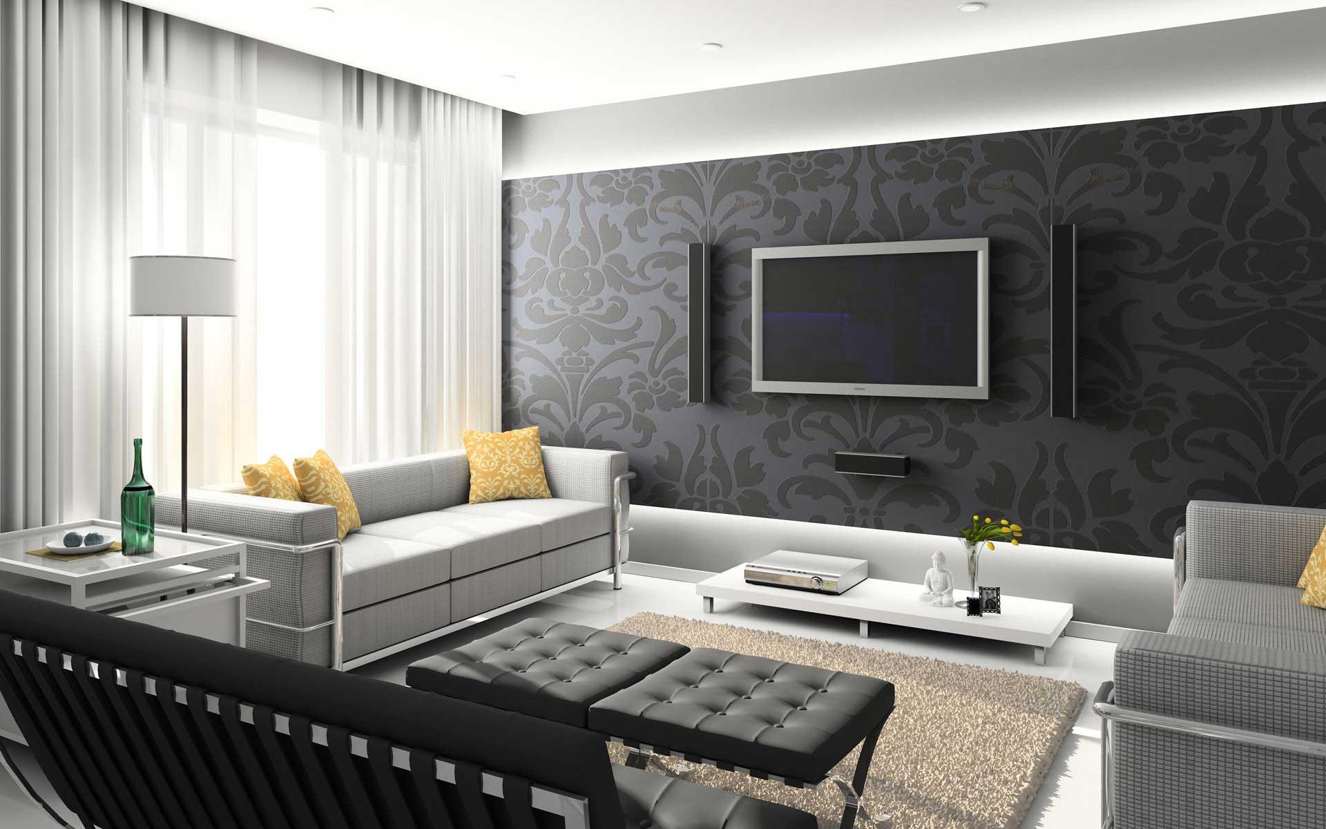 Интерьер гостиной в современном стиле с обоями