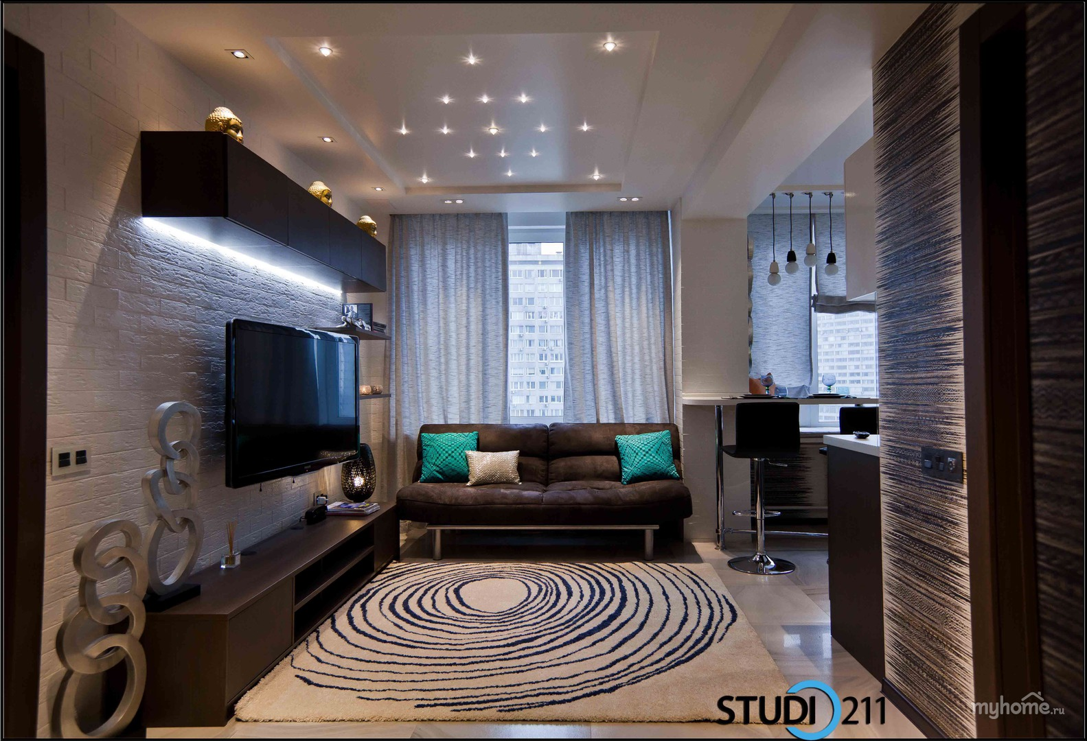 Фото дизайна комнаты 16 кв.м с двумя окнами
