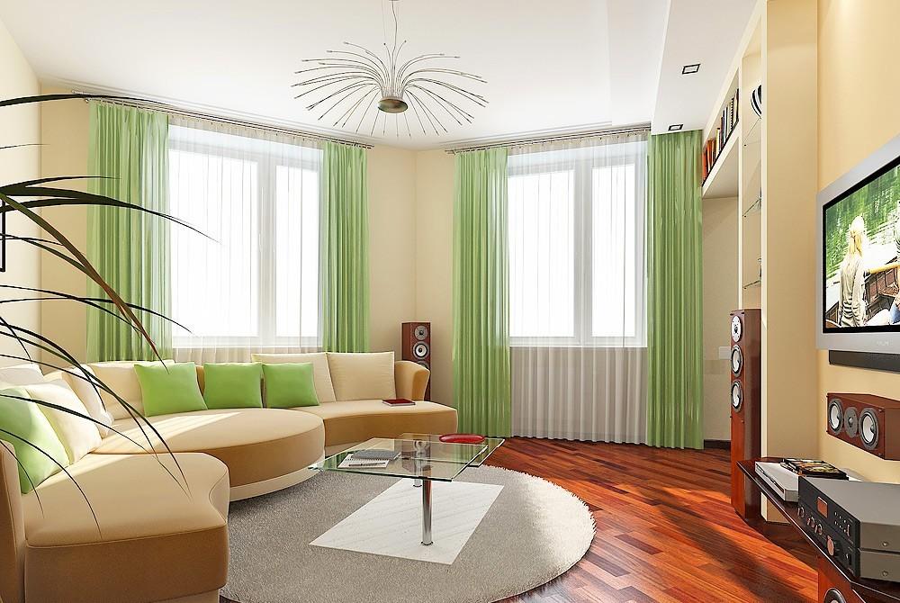 Дизайн зала 18 кв м в квартире 2 окна