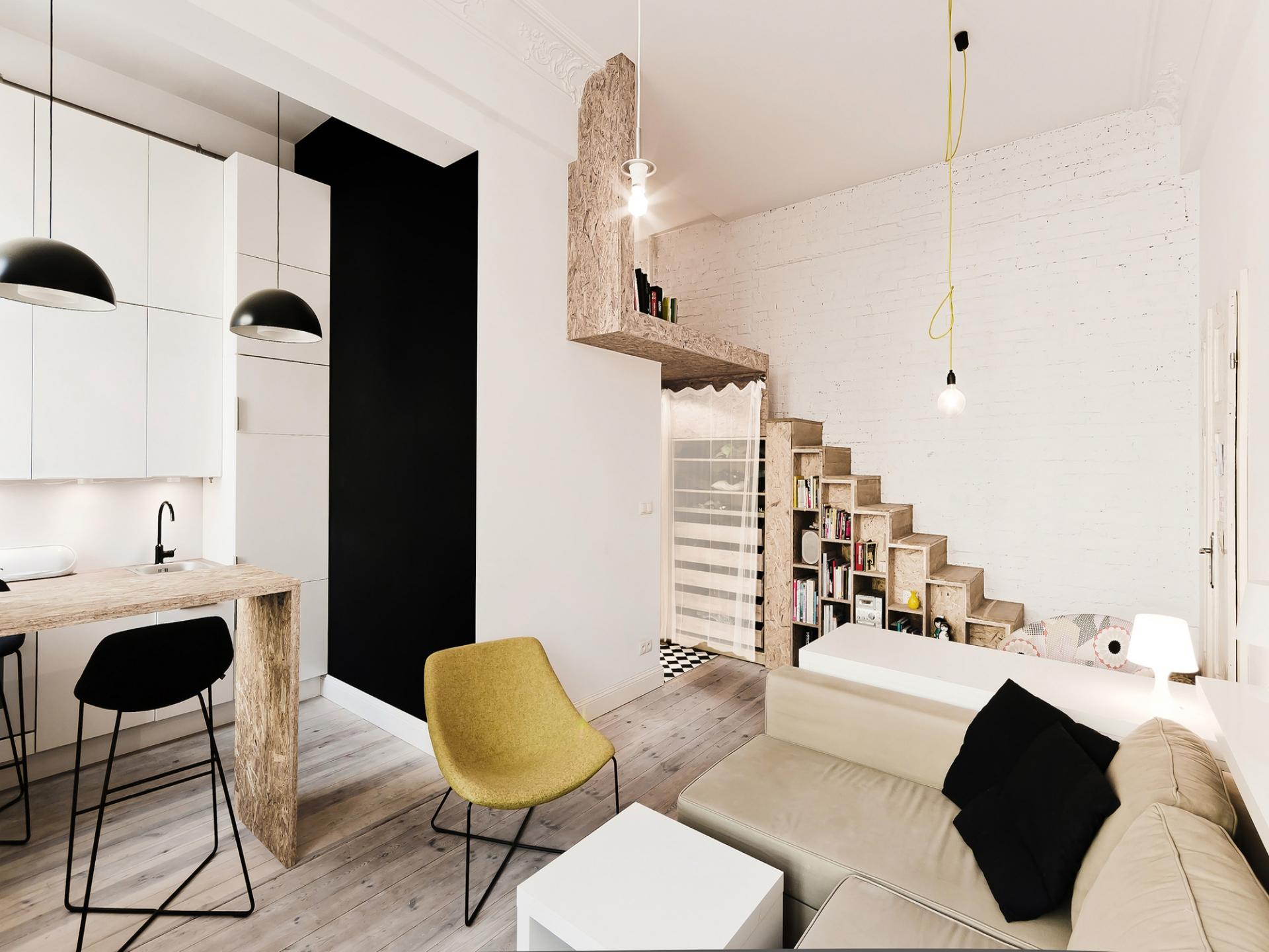 Интерьер двухуровневой маленькой квартиры