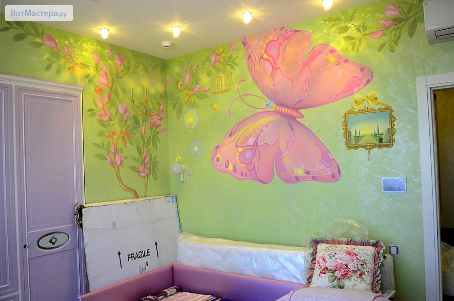 Дизайн комнаты с рисунками на стенах