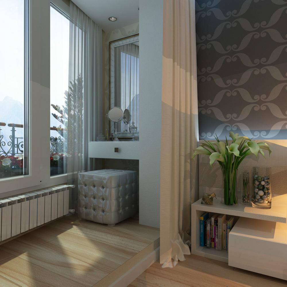 Фото дизайн комнаты совмещенной с балконом