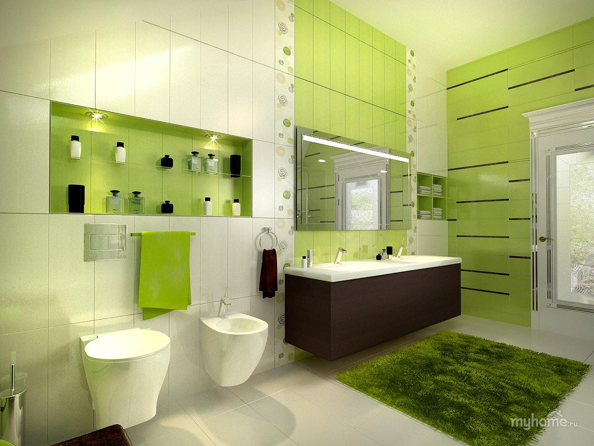 Интерьер ванной комнаты фото в зеленых тонах