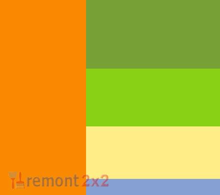 Сочетание цветов зеленый и оранжевый в интерьере