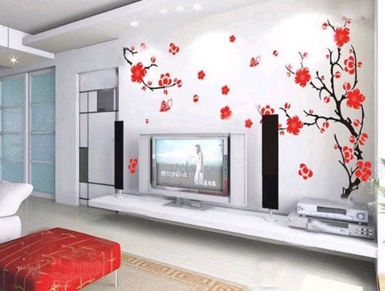 сакура на стене в интерьере фото