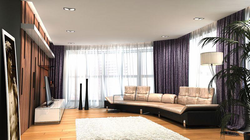 Дизайн зала 40 квм с двумя окнами