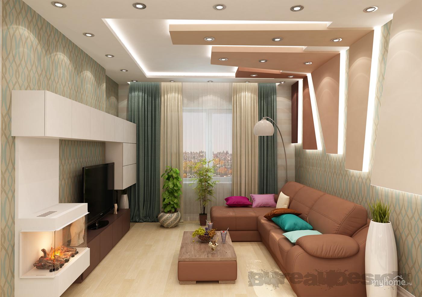 Дизайн интерьеров гостиной совмещенных