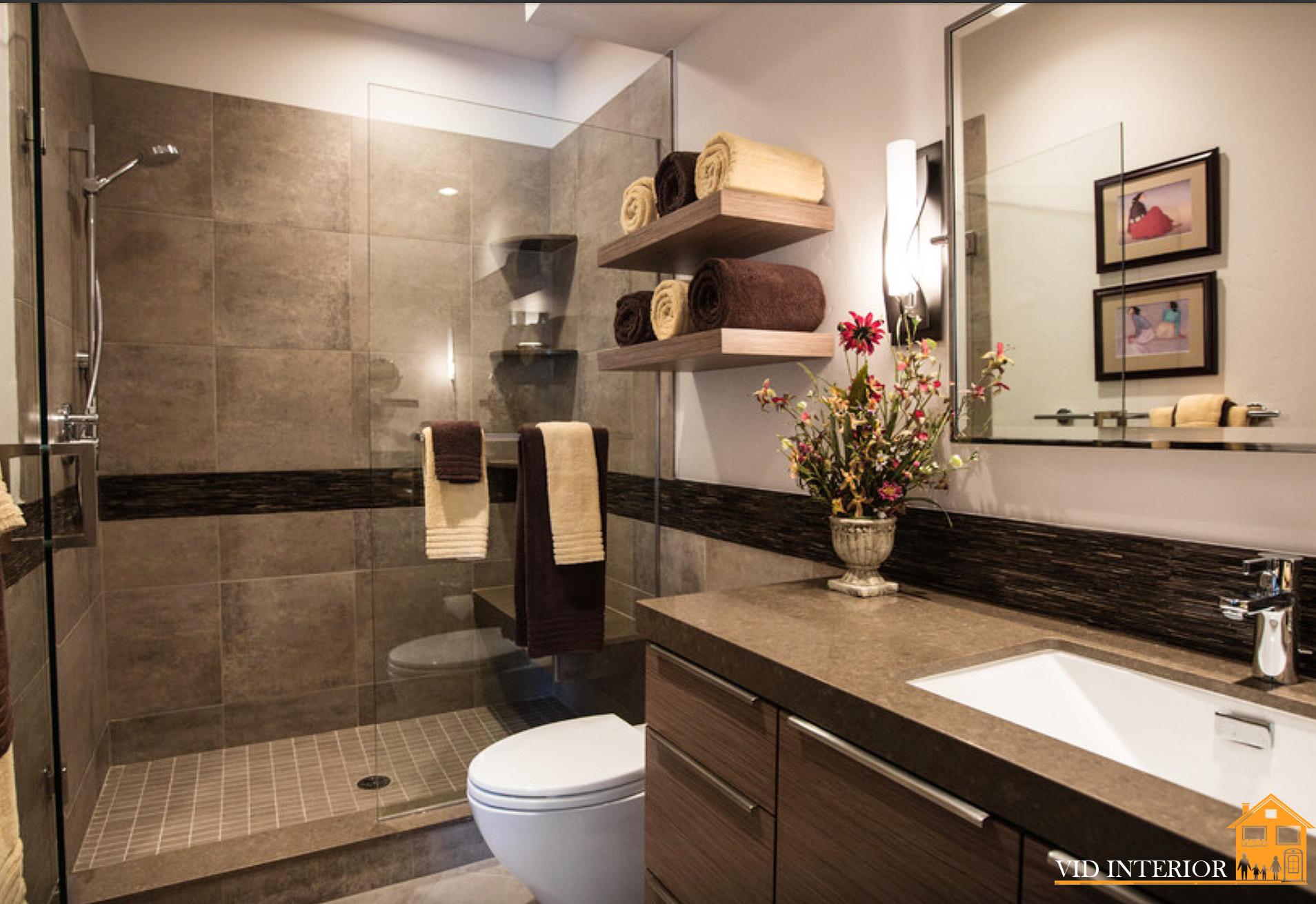 Бежево коричневая ванная дизайн