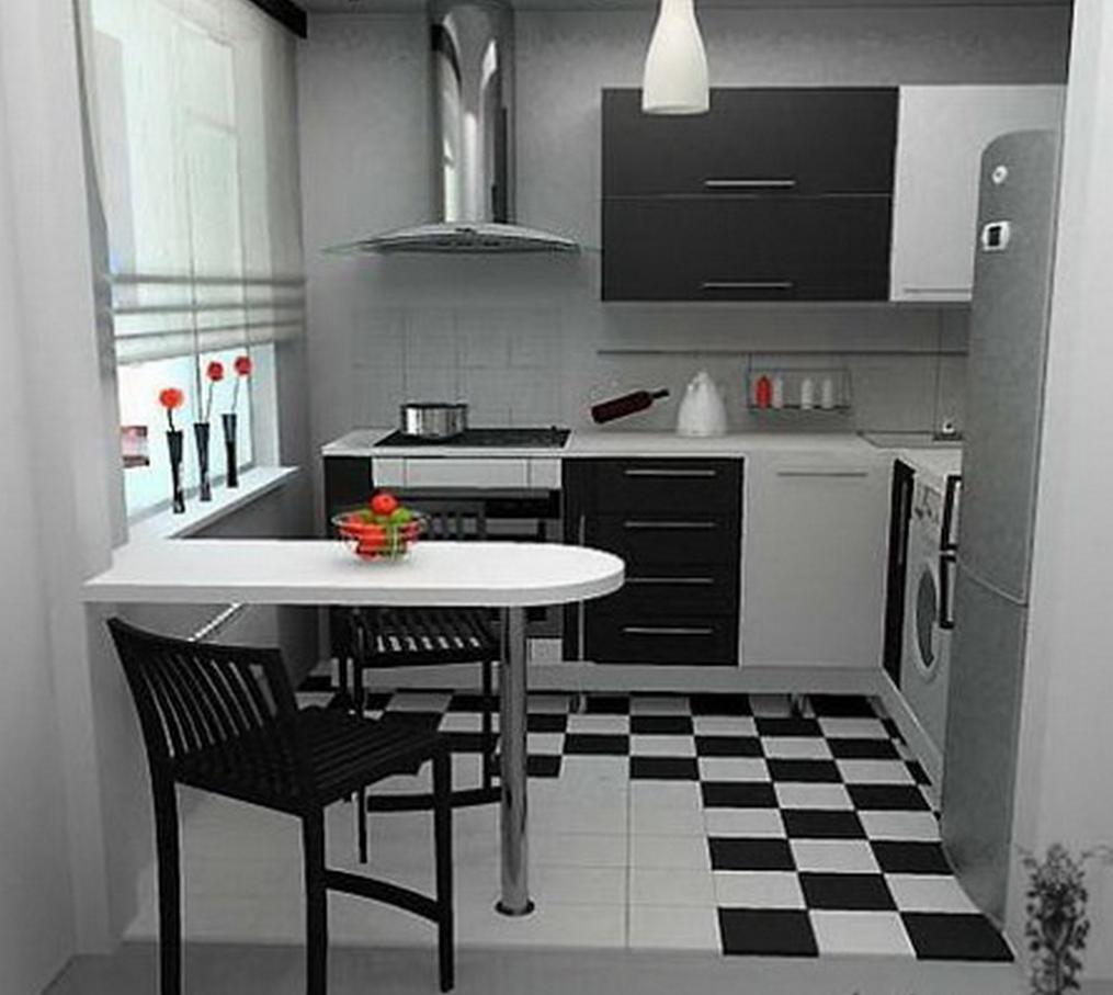 Интерьер черной кухни в хрущевке