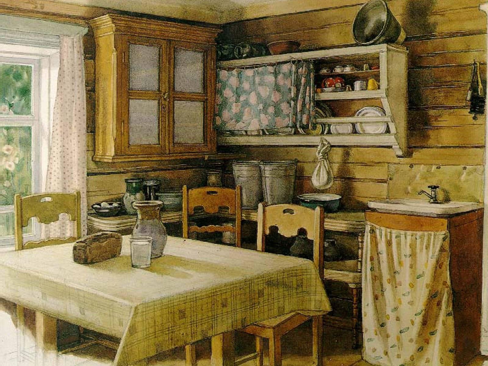 Интерьер кухни в деревни