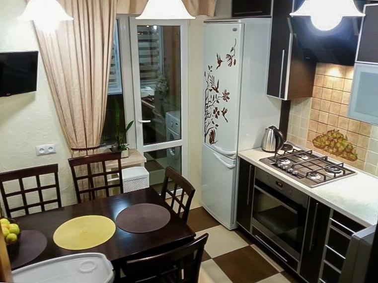 Дизайн кухни 8 кв.м с холодильником прямоугольная