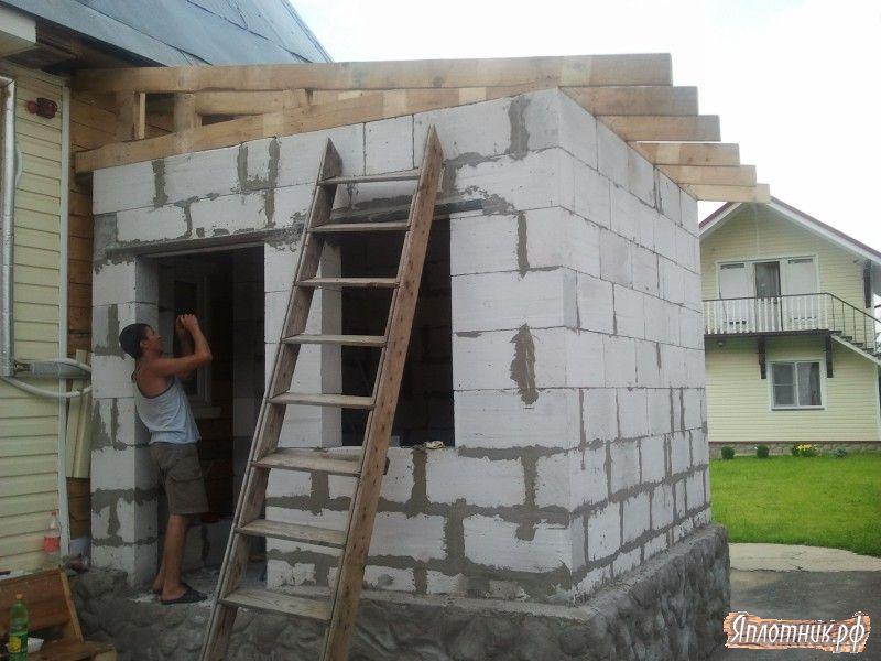 Пристройка из пеноблока к деревянному дому своими руками