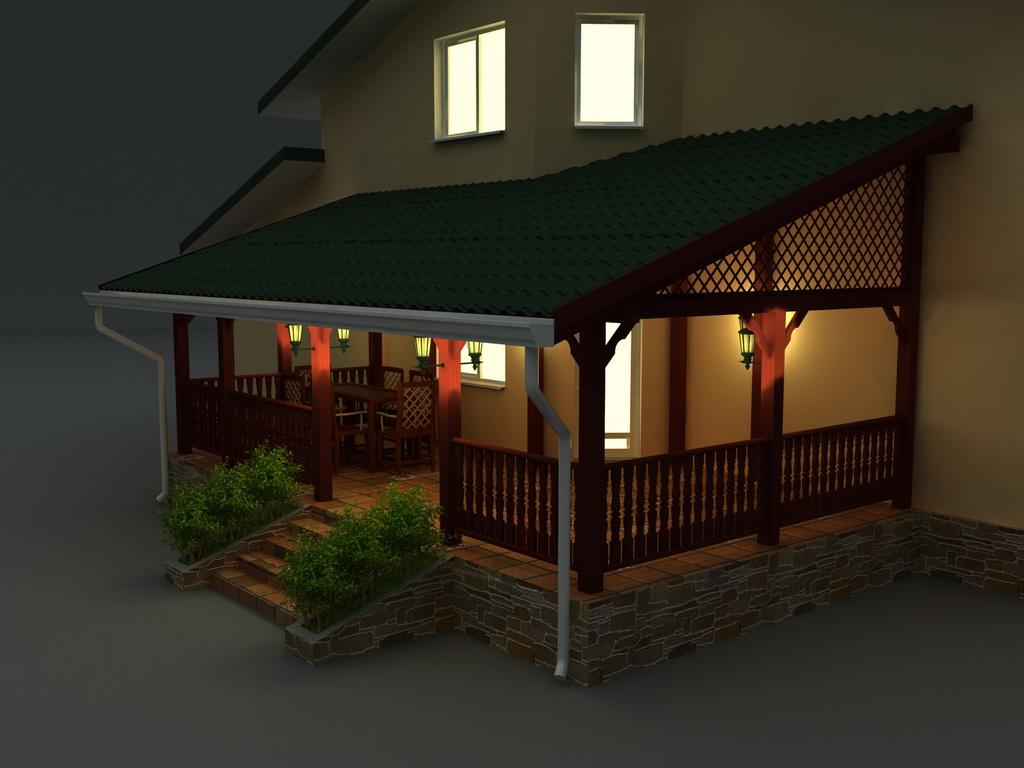 Деревянная беседка к дому