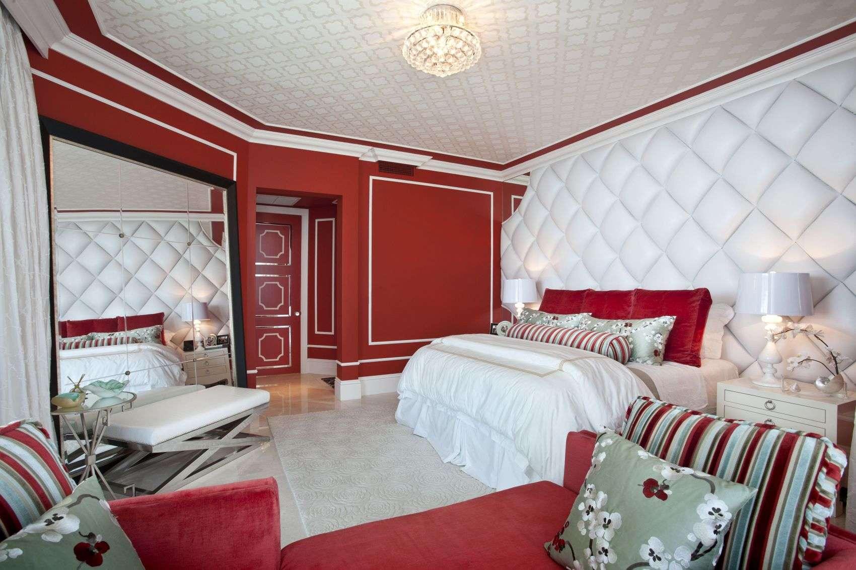 Красно белая спальня дизайн