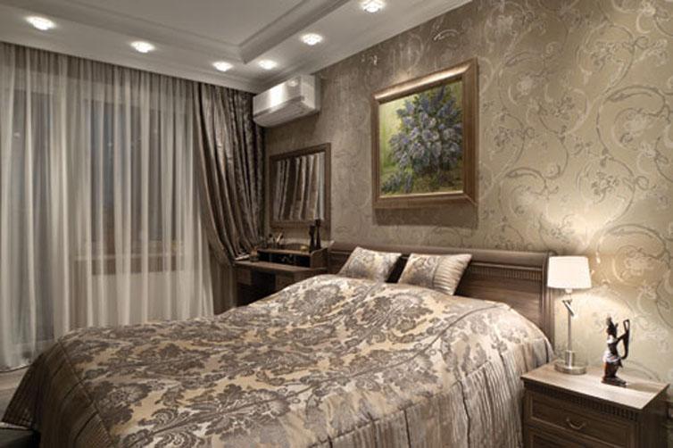 Обои бежевого цвета в спальне