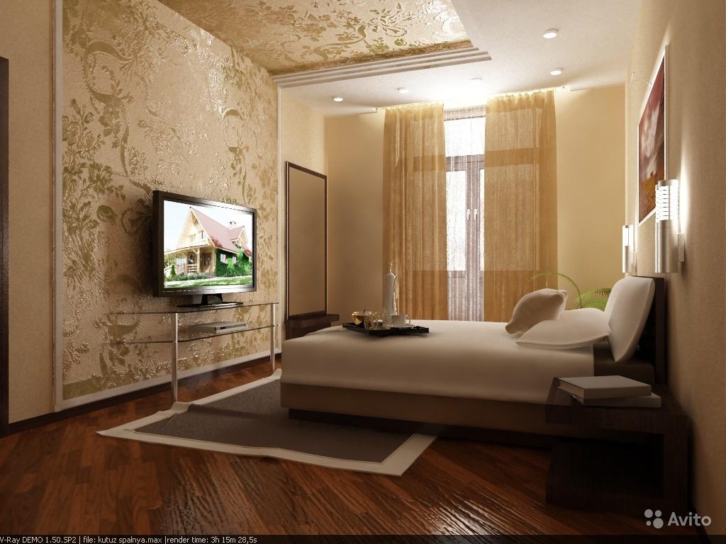 Дизайн прямоугольной комнаты спальни