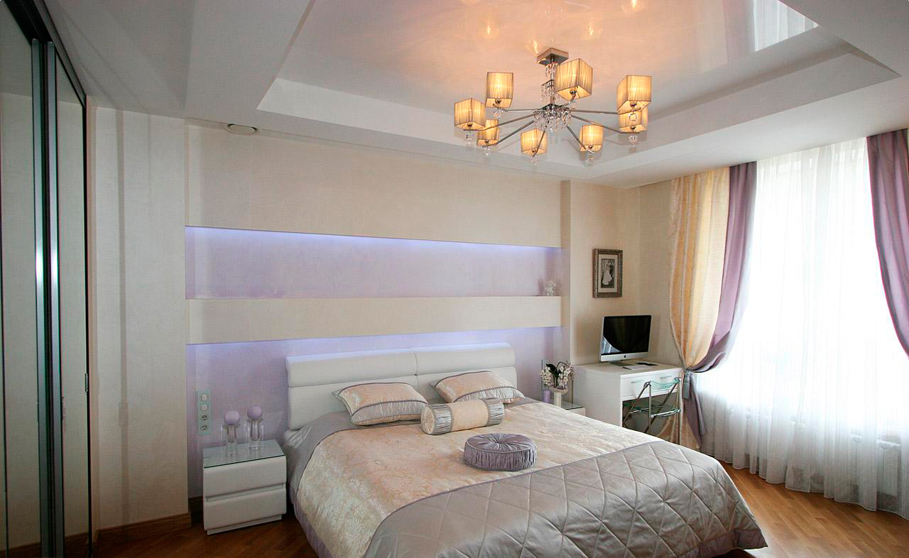 Подвесные потолки для спальни в дизайне