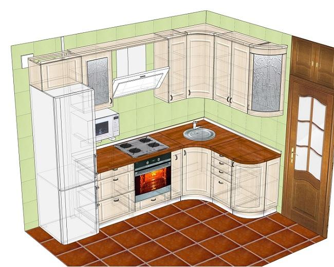 Дизайн кухни правый угол