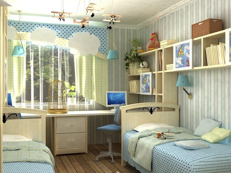 Дизайн детской комнаты для двух мальчиков в квартире
